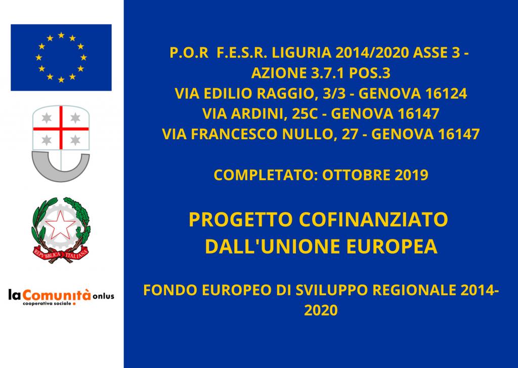 lacomunita certificato cofinanziamento p.o.r. f.e.s.r. Liguria
